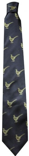 Bisley Silk Tie - Navy Pheasants (JR-BIT15)